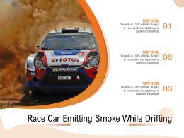 Race Car Emitting Smoke While Drifting