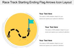 Race Track Starting Ending Flag Arrows Icon Layout
