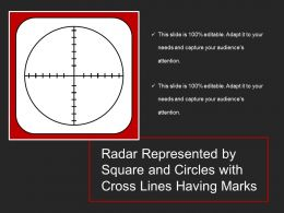 Radar Represented By Square And Circles With Cross Lines Having Marks