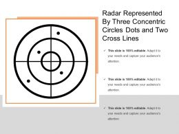 Radar Represented By Three Concentric Circles Dots And Two Cross Lines