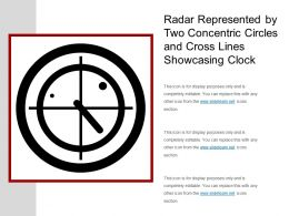 Radar Represented By Two Concentric Circles And Cross Lines Showcasing Clock