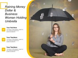 Raining Money Dollar And Business Woman Holding Umbrella