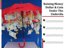 Raining Money Dollar And Coin Under The Umbrella