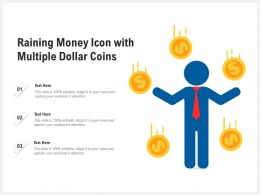 Raining Money Icon With Multiple Dollar Coins