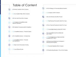 Raise Funds After Market Investment Table Of Content Analysis Ppt Infographics Examples