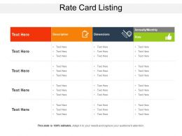 Rate Card Listing