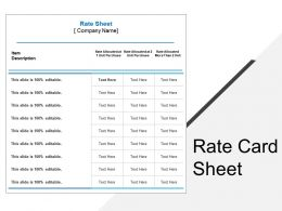 Rate Card Sheet