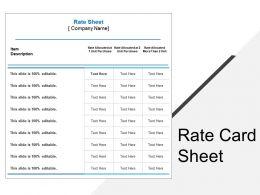 Rate Card Sheet