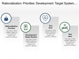 Rationalization Priorities Development Target System Opportunities Identified Sourcing