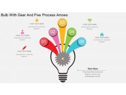 rb Bulb With Gear And Five Process Arrows Flat Powerpoint Design