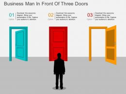 rb Business Man In Front Of Three Doors Flat Powerpoint Design