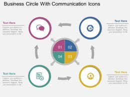 rc Business Circle With Communication Icons Flat Powerpoint Design