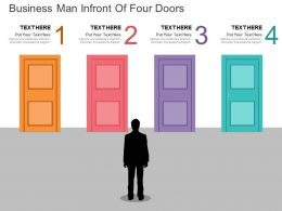 rc Business Man Infront Of Four Doors Flat Powerpoint Design