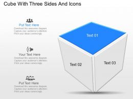 Rc Cube With Three Sides And Icons Powerpoint Template