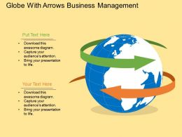 Rc Globe With Arrows Business Management Flat Powerpoint Design