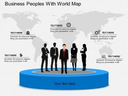 rd Business Peoples With World Map Flat Powerpoint Design