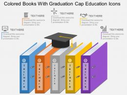 rd Colored Books With Graduation Cap Education Icons Flat Powerpoint Design