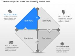 Rd Diamond Shape Text Boxes With Marketing Process Icons Powerpoint Template