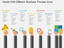 Rd Hands With Different Business Process Icons Flat Powerpoint Design