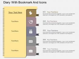 re Diary With Bookmark And Icons Flat Powerpoint Design