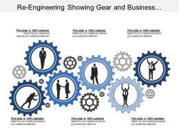 Re Engineering Showing Gear And Business Silhouette