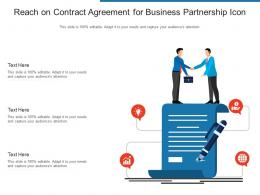 Reach On Contract Agreement For Business Partnership Icon