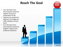 reach the goal man standing on steps ppt slides diagrams templates