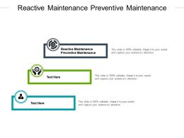 Reactive Maintenance Preventive Maintenance Ppt Powerpoint Presentation Pictures Cpb