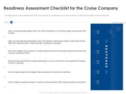 Readiness Assessment Checklist For The Cruise Company Ppt Gallery