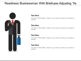 Readiness Businessman With Briefcase Adjusting Tie