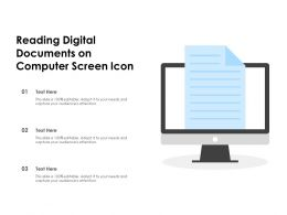 Reading Digital Documents On Computer Screen Icon