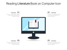 Reading Literature Book On Computer Icon