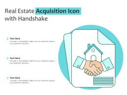 Real Estate Acquisition Icon With Handshake
