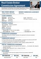 Real Estate Broker Commission Agreement Presentation Report Infographic PPT PDF Document