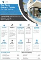Real Estate Business Canvas One Page Summary Presentation Report Infographic PPT PDF Document