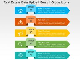 Real Estate Data Upload Search Globe Icons Flat Powerpoint Design