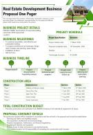 Real Estate Development Business Proposal One Pager Presentation Report PPT PDF Document