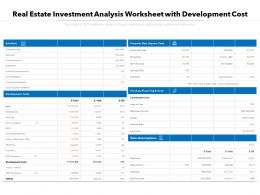 Real Estate Investment Analysis Worksheet With Development Cost