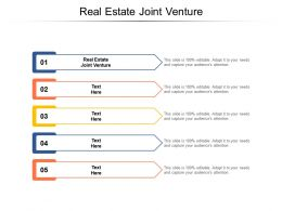 Real Estate Joint Venture Ppt Powerpoint Presentation Icon Influencers Cpb