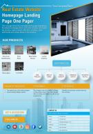 Real Estate Website Homepage Landing Page One Pager Presentation Report Infographic PPT PDF Document