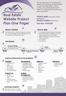 Real Estate Website Project Plan One Pager Presentation Report Infographic PPT PDF Document