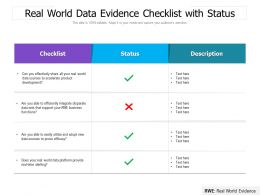 Real World Data Evidence Checklist With Status