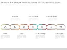 Reasons For Merger And Acquisition Ppt Powerpoint Slides