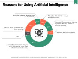 Reasons For Using Artificial Intelligence Ppt Powerpoint Presentation Professional Outline