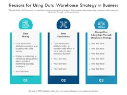 Reasons For Using Data Warehouse Strategy In Business
