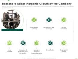 Reasons To Adopt Inorganic Growth By The Company Routes To Inorganic Growth Ppt Slides