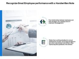 Recognize Great Employee Performance With A Handwritten Note Powerpoint Slides