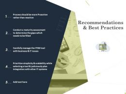 Recommendations And Best Practices Ppt Powerpoint Presentation Styles Graphics