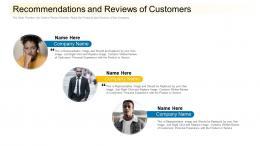 Recommendations And Reviews Of Customers Community Financing Pitch Deck Ppt Ideas Deck