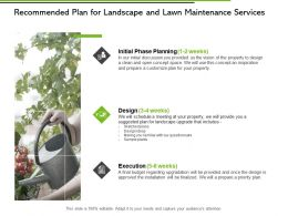 Recommended Plan For Landscape And Lawn Maintenance Services Ppt Slides